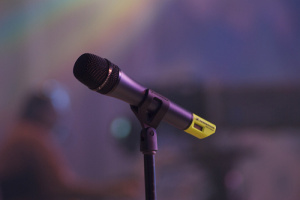 a microphone on a stand photographed by Paul Hudson